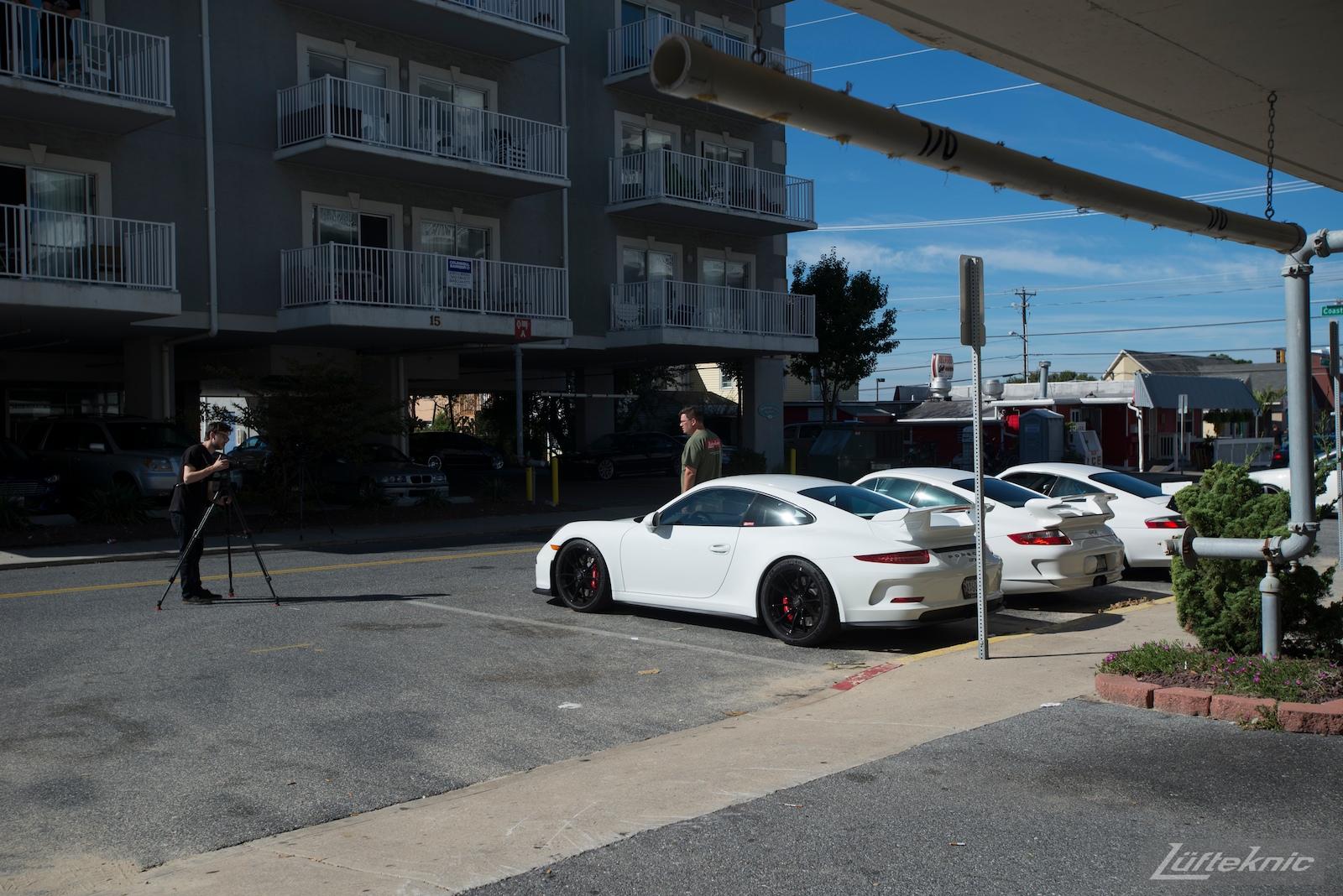 Lüfteknic Porsche 991 GT3 being filmed by IDEA television.
