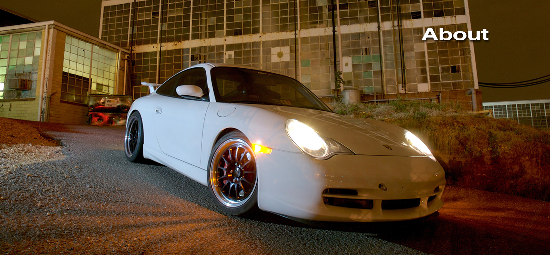 About Lüfteknic page header showing a white 996 gt3 in front of a building at night