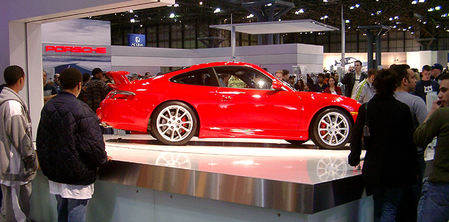 A red 996 GT3 on display at the New York Auto Show 2004