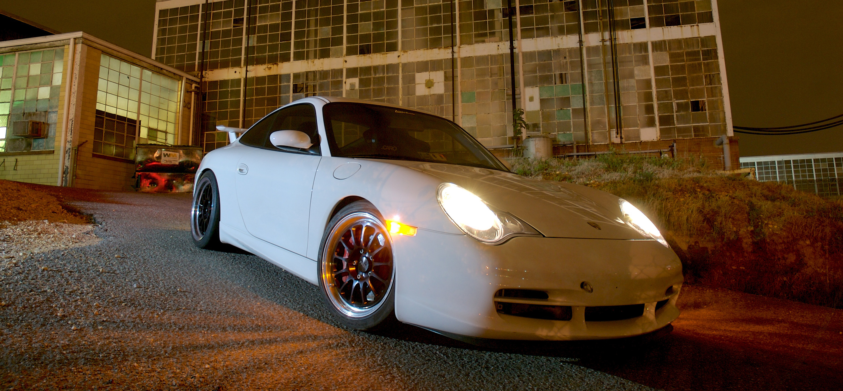Header image showing a 996 GT3 in front of a building at night