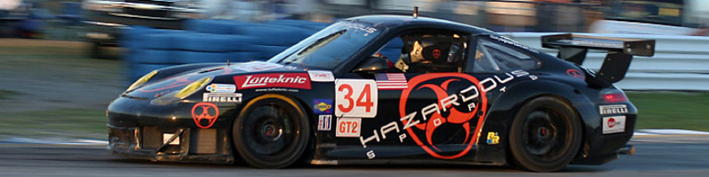 The black Hazardous Sports 996 GT3R pictured on track at Sebring 2005.