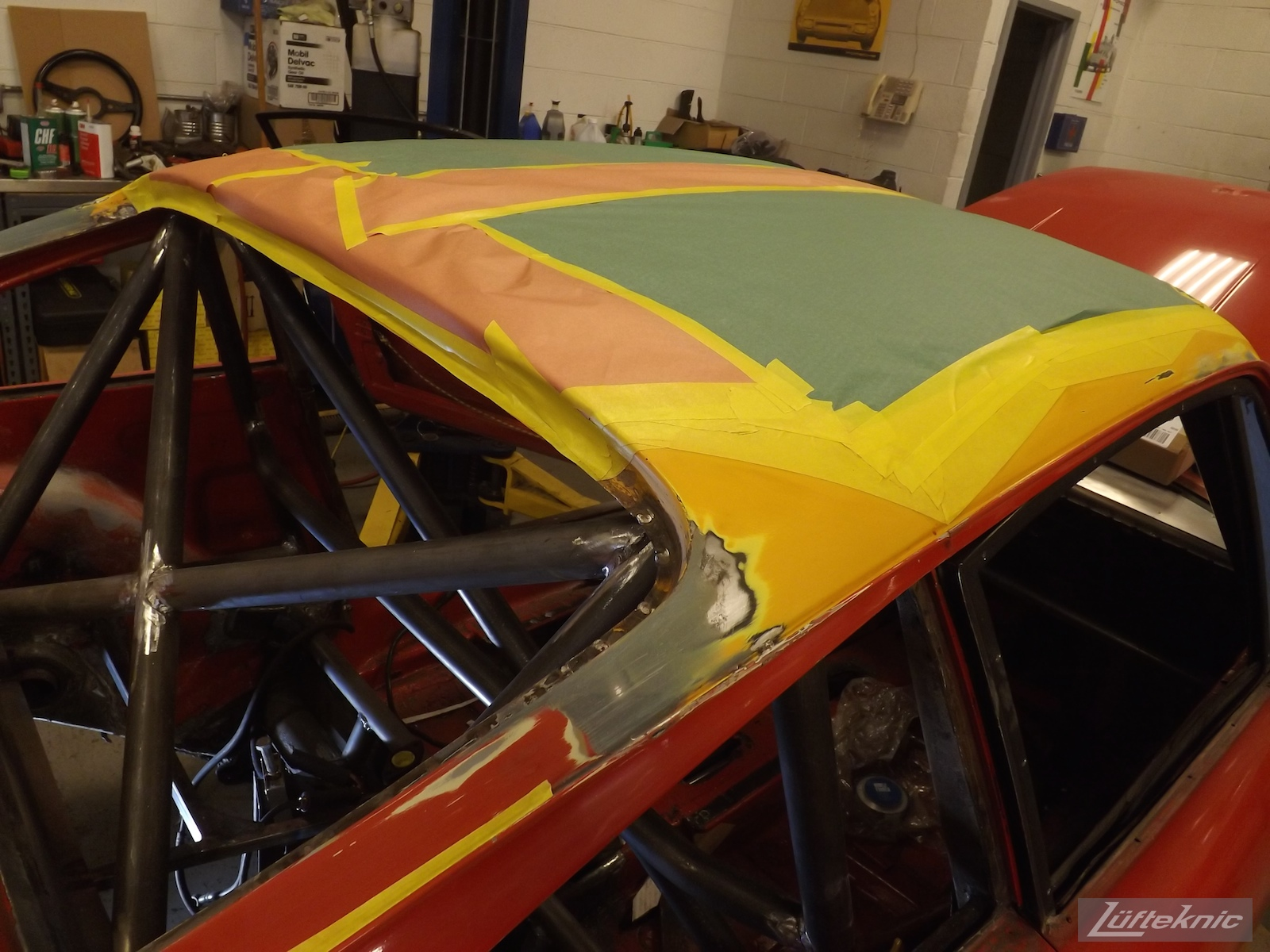 projectstuka roof installed and paint lines taped.
