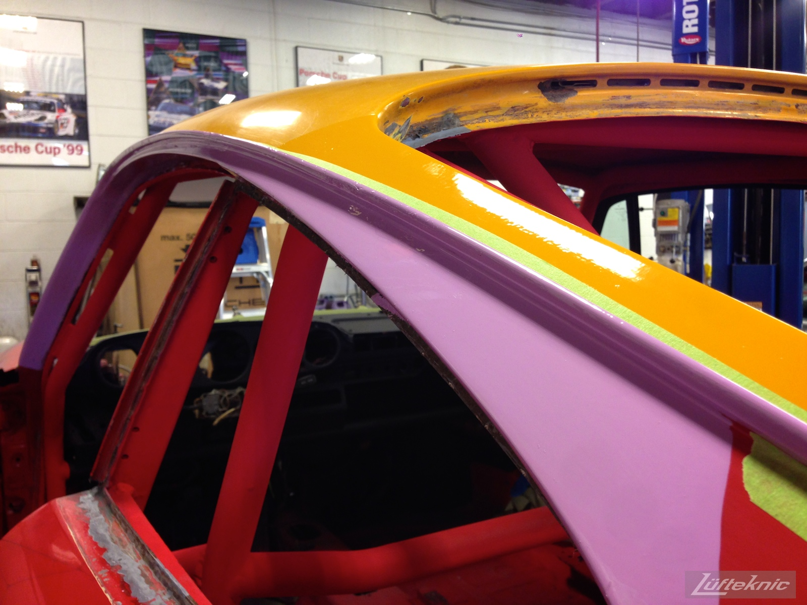 Lüfteknic #projectstuka Porsche 930 Turbo rain gutter painted violet.