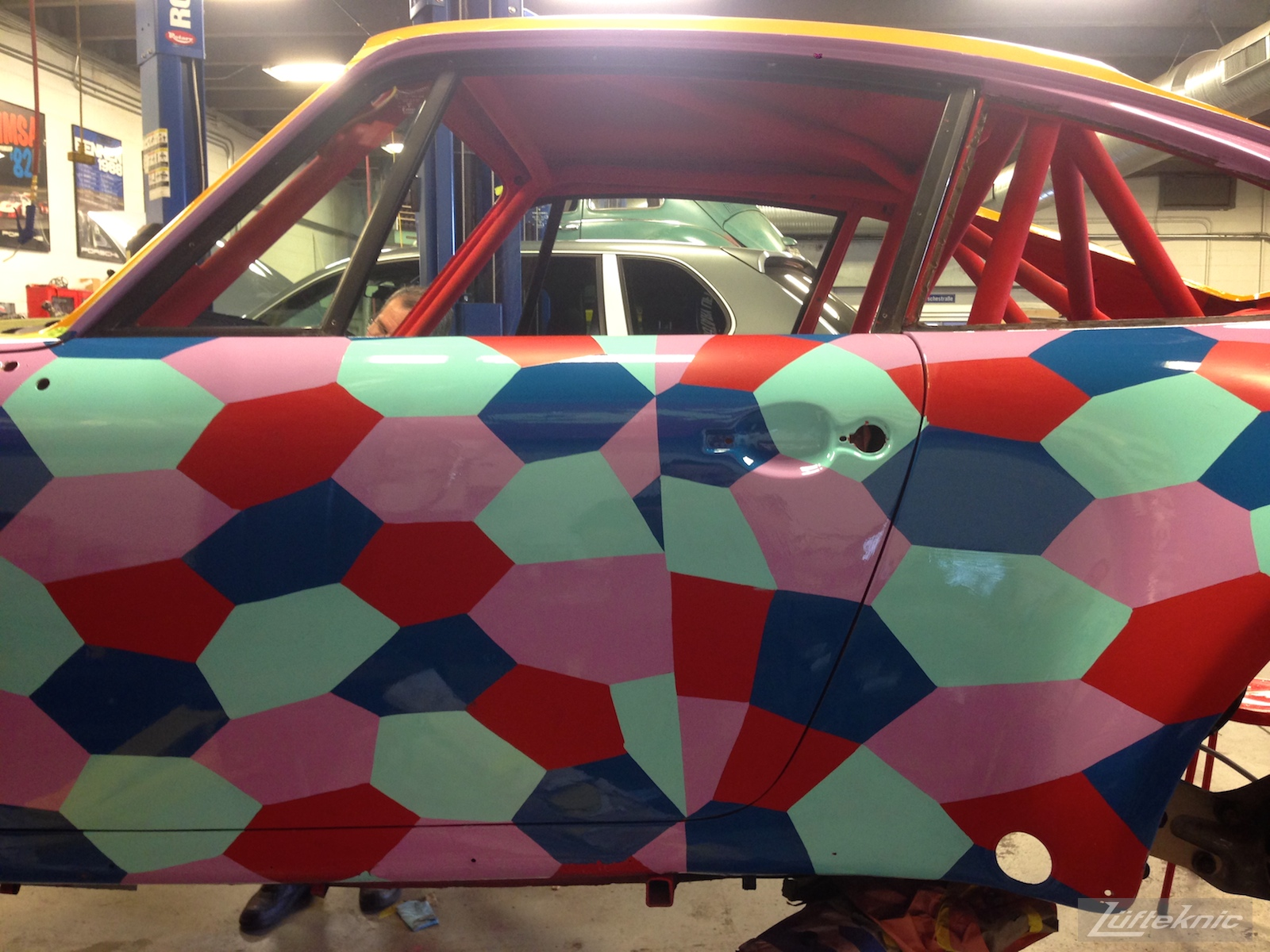 75% complete lozenge camofalge pattern on the side of projectstuka Porsche 930
