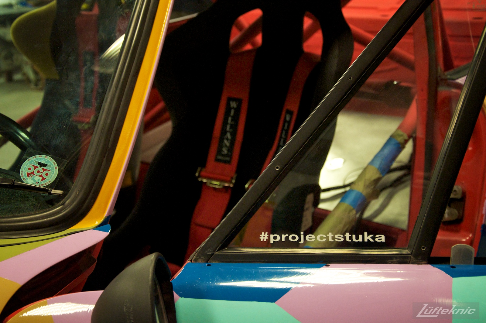 Door, interior and racing seat shown on the Lüfteknic #projectstuka Porsche 930 Turbo