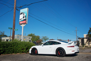The Lüfteknic 991 GT3 shop car in the parking lot next to our sign.