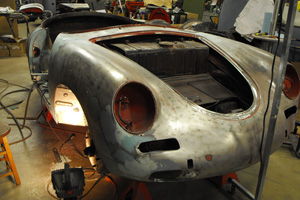 Porsche 356 Roadster being restored.