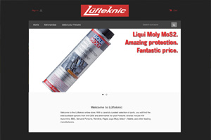 A screen capture of the front of the new Lüfteknic online store