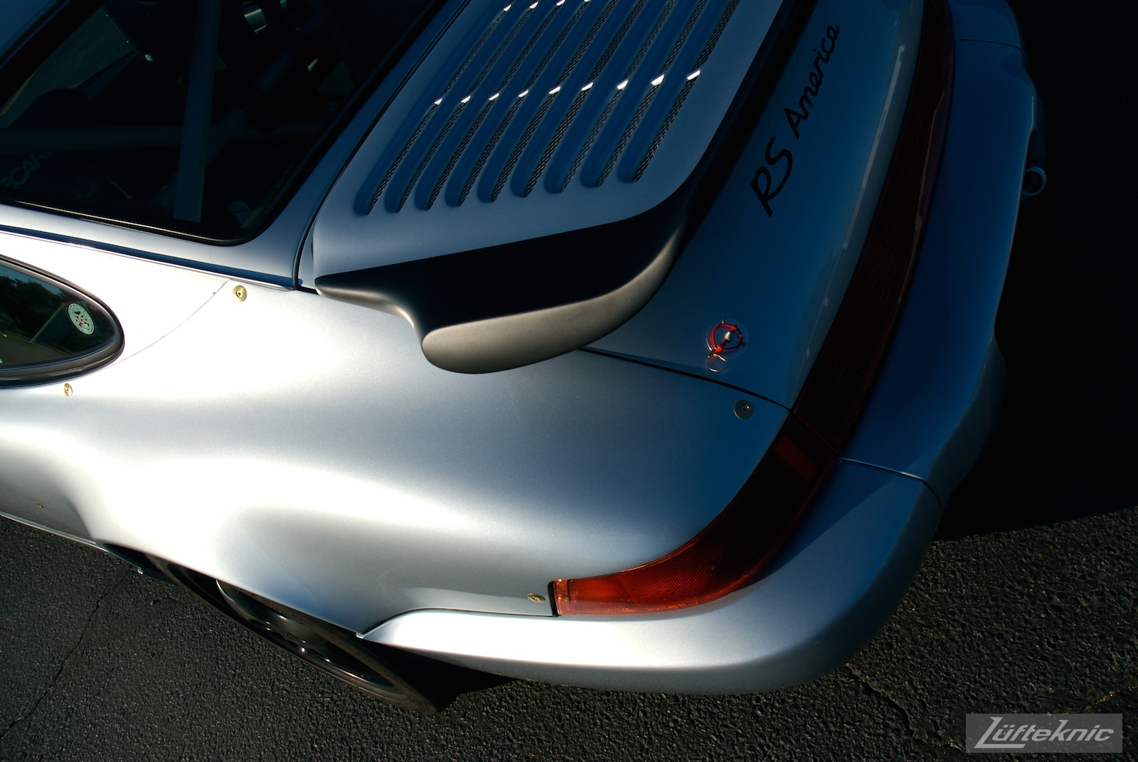 Moody shot of the rear wing, quarter panel and deck lid on the RS America