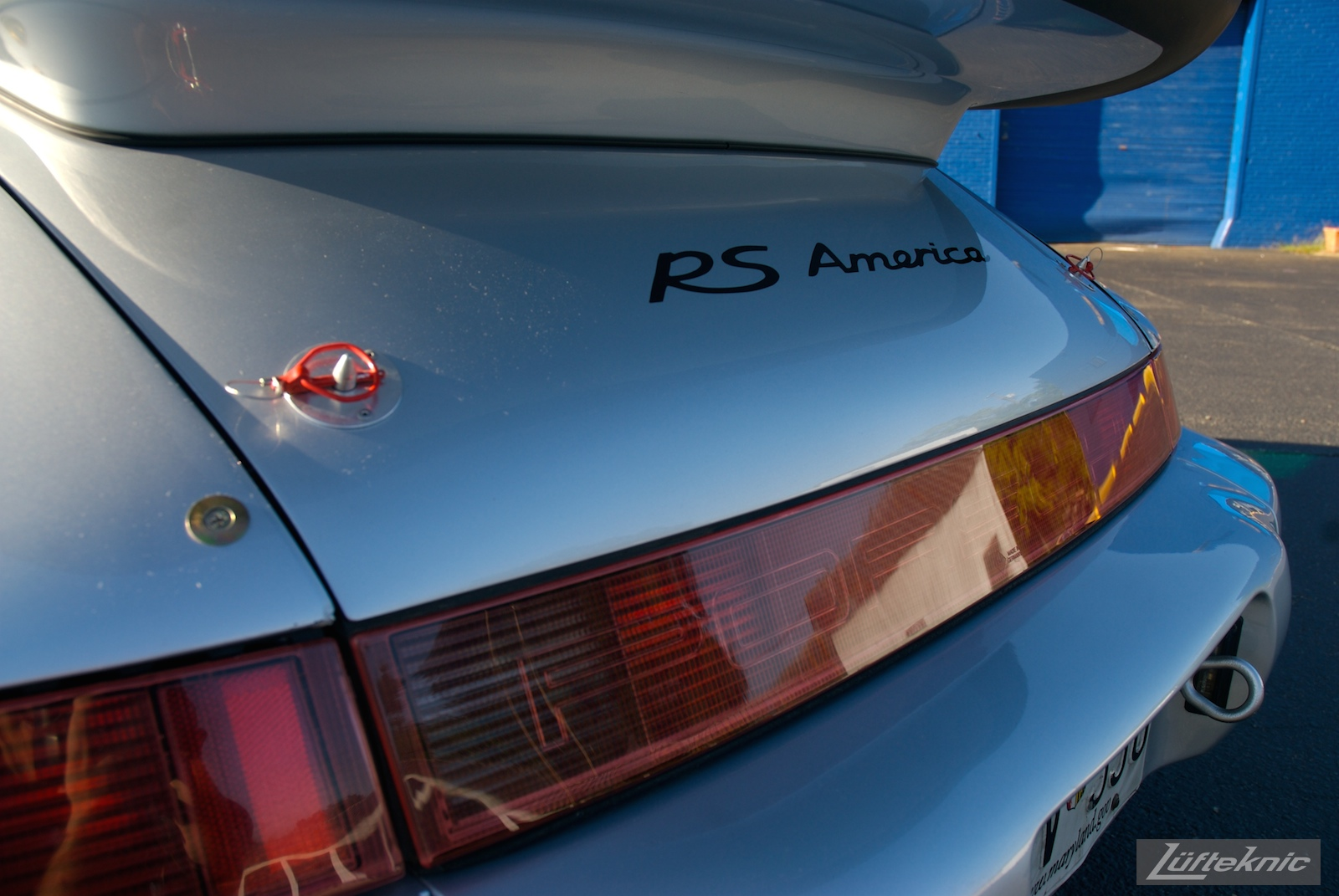 Detailed shot of the rear decklid on the RS America with painted logos.