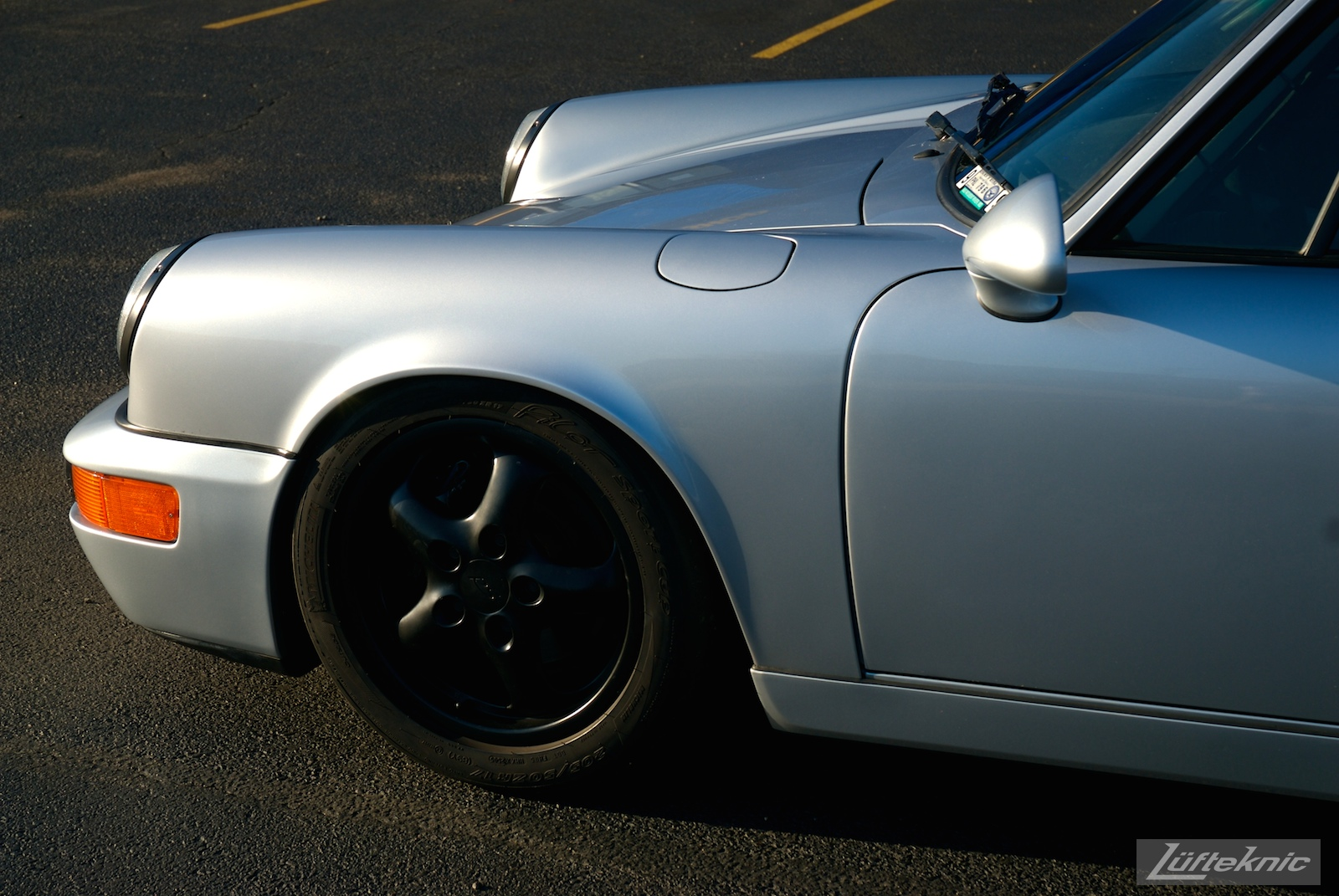 Track prepped Porsche 964 RS America front fender.