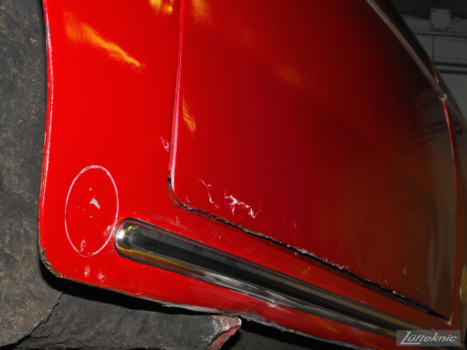 Swollen door on a 1961 Porsche 356B Roadster restoration.