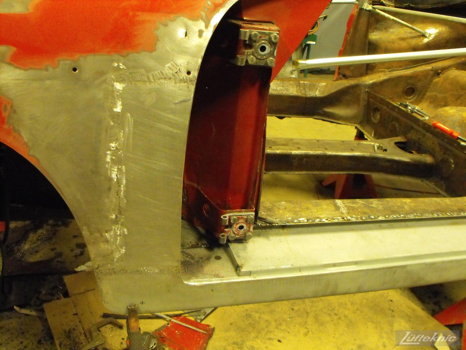 Front fender repair on an 1961 Porsche 356B Roadster restoration.