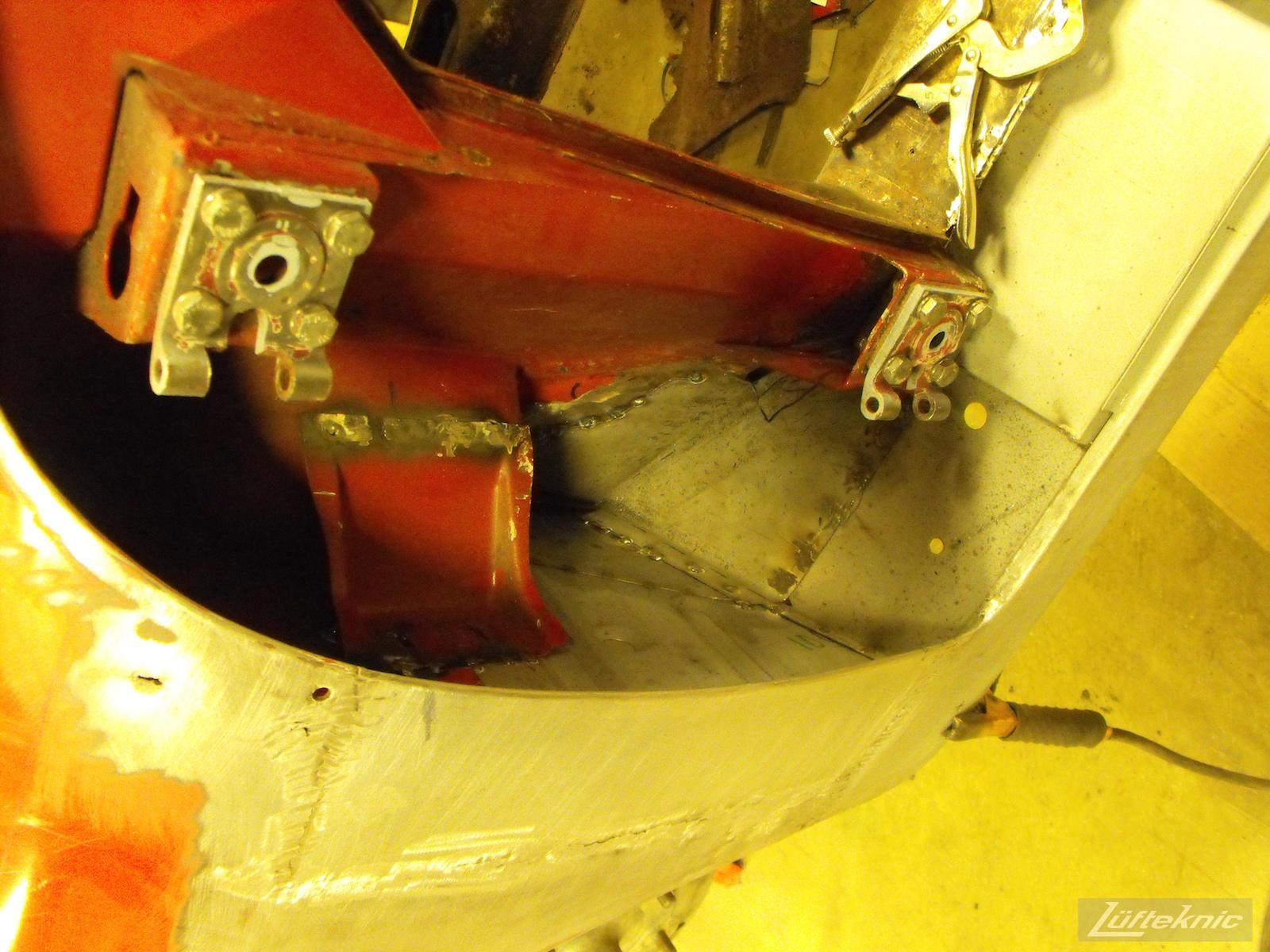 Rust repair on a 1961 Porsche 356B Roadster restoration.