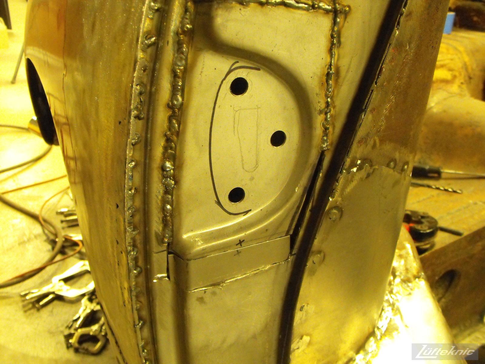 Door lock post reconstruction on a 1961 Porsche 356B Roadster restoration.