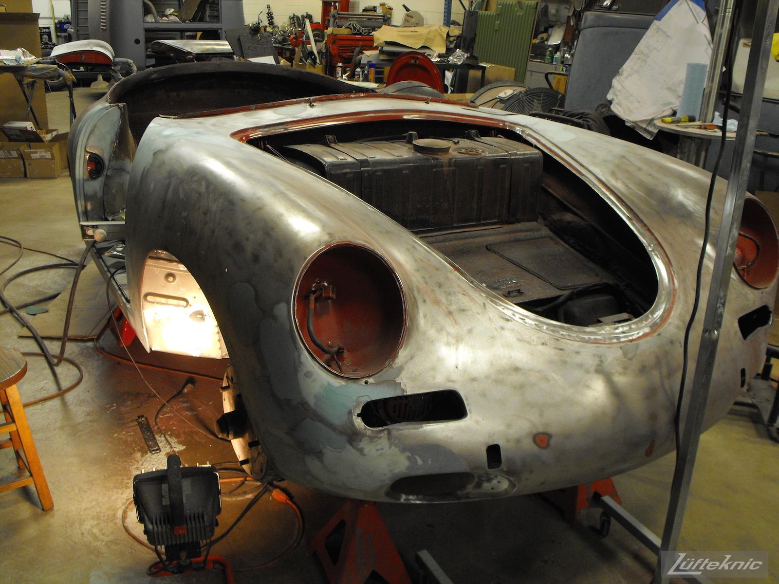 Front end view of a 1961 Porsche 356B Roadster restoration.