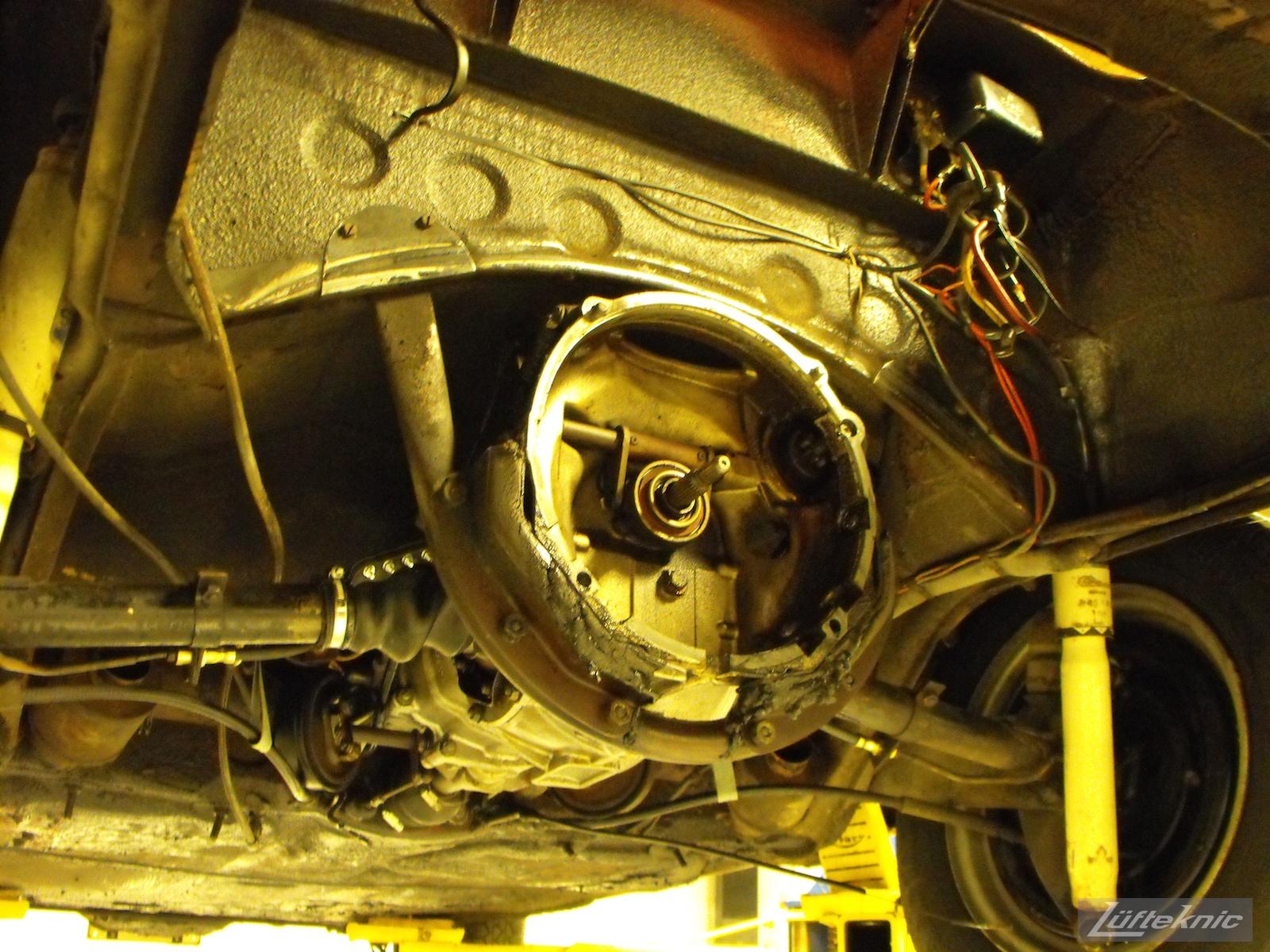 Engine removed for a 1961 Porsche 356B Roadster restoration.