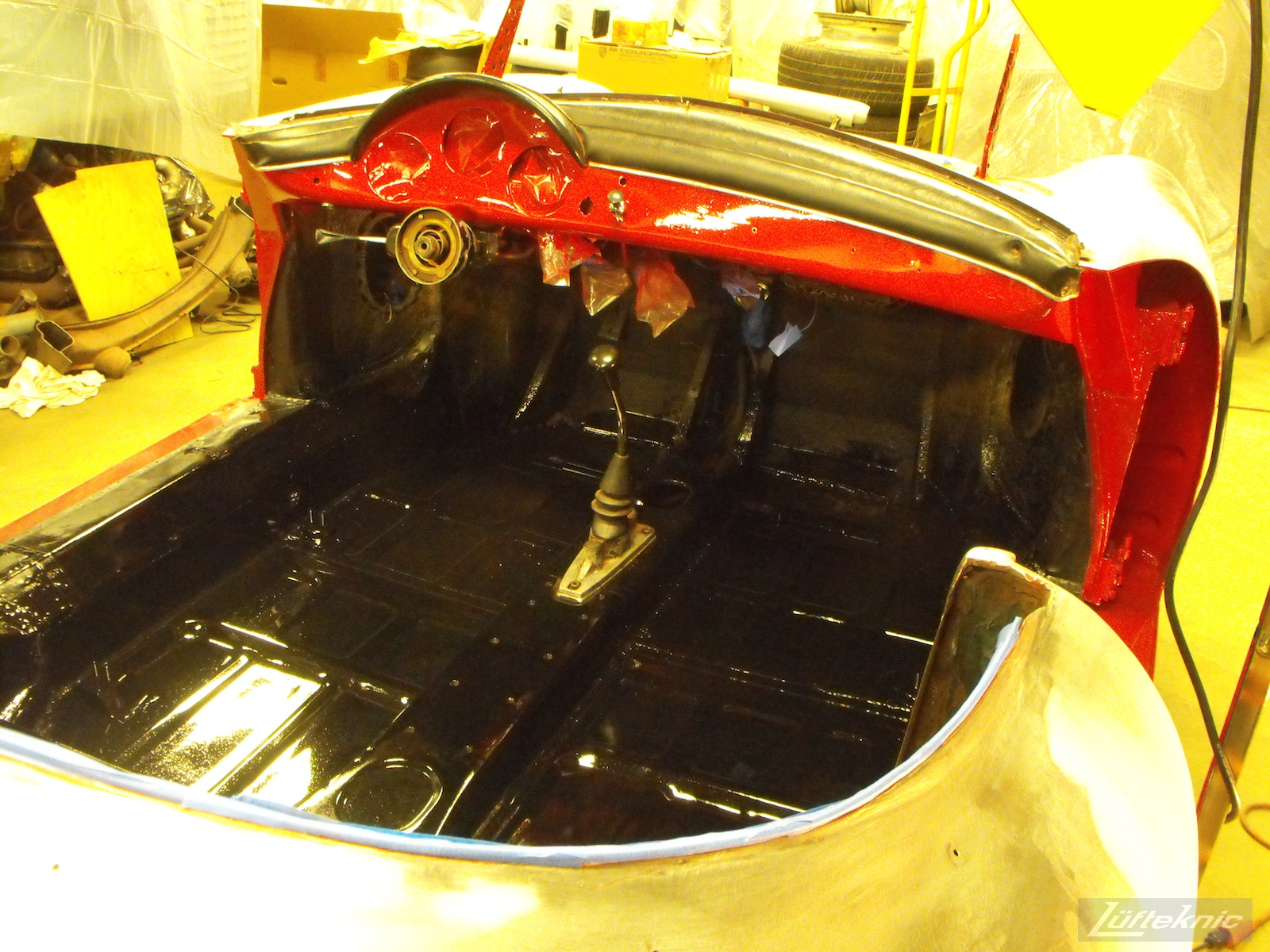Painted dash and interior on a 1961 Porsche 356B Roadster restoration.