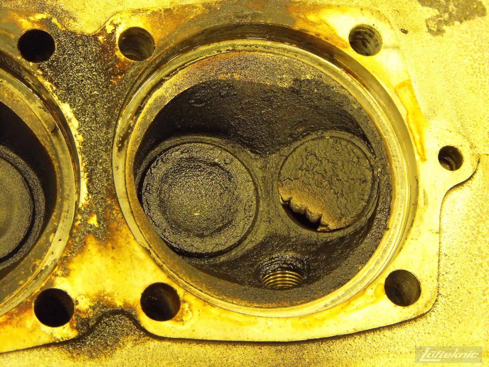 Valve damage on a 1961 Porsche 356B Roadster restoration.