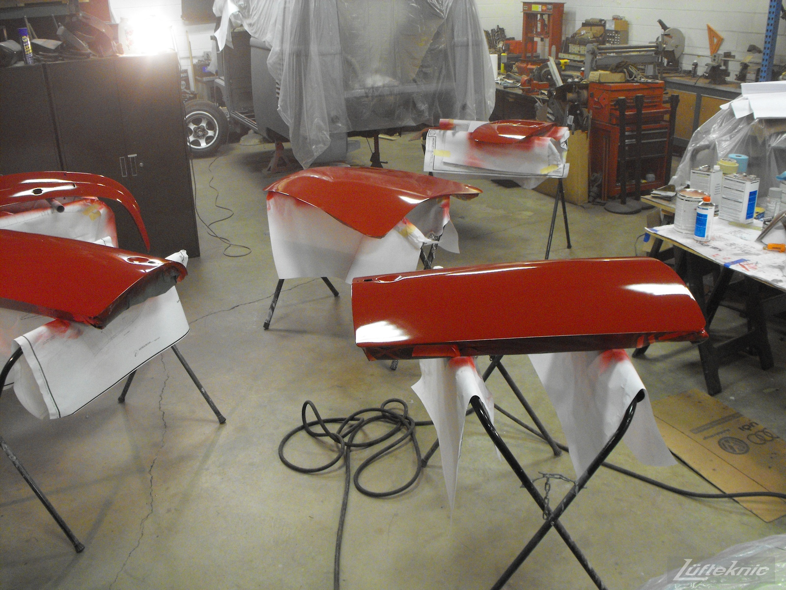 Doors and panels painted for a 1961 Porsche 356B Roadster restoration.