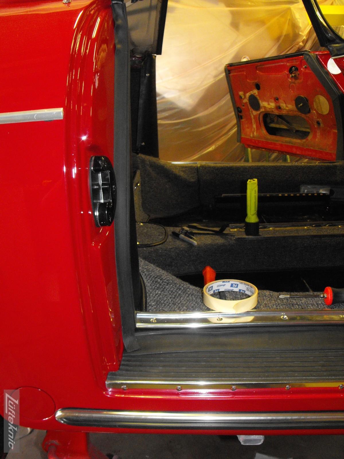 Door lock post completed on a 1961 Porsche 356B Roadster restoration.