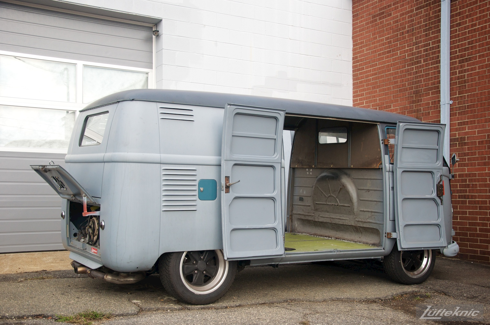 1956 Volkswagen double panel Transporter PorscheBus details.