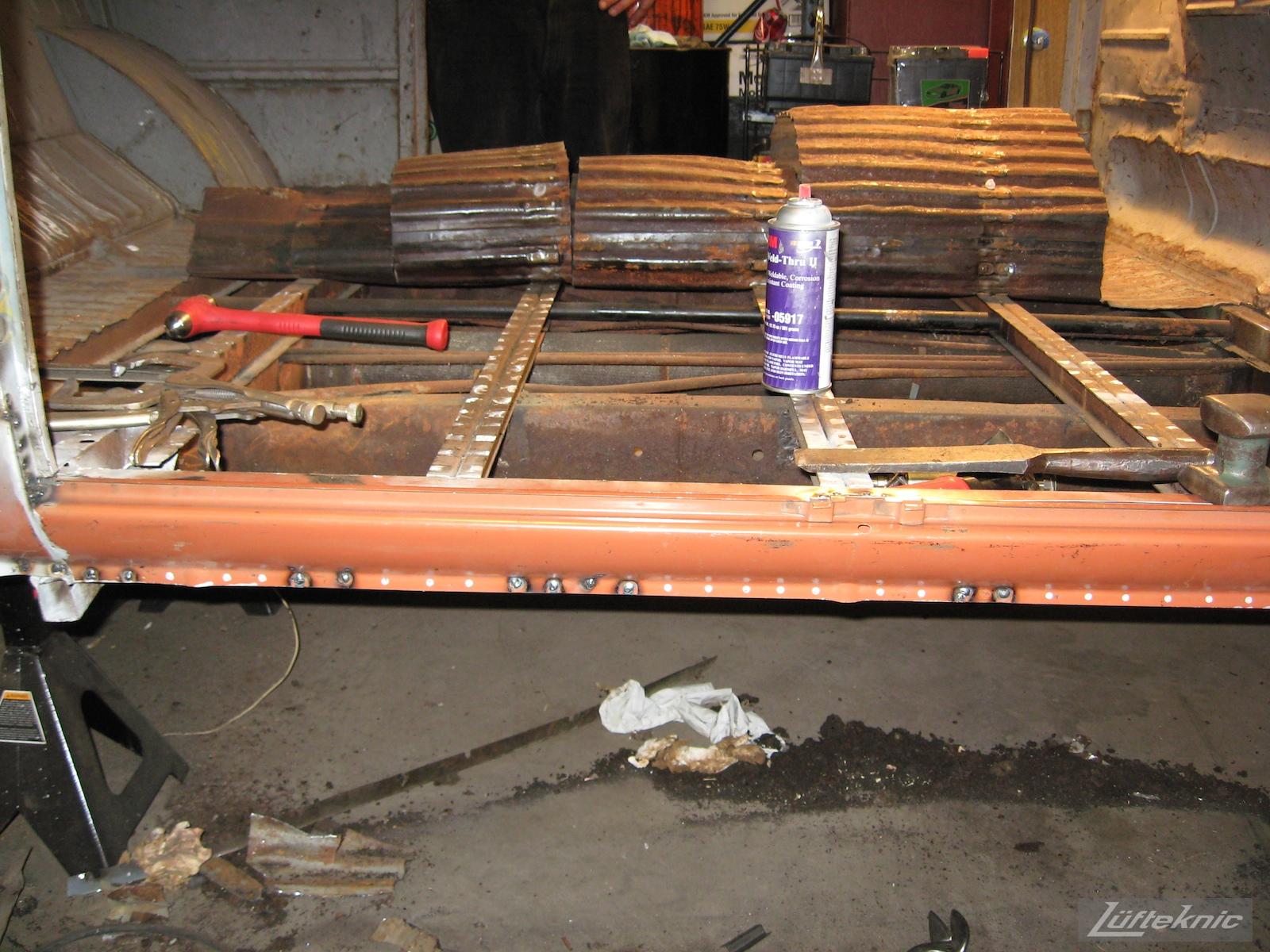 1956 Volkswagen double panel Transporter Porsche Bus cargo floors removed.