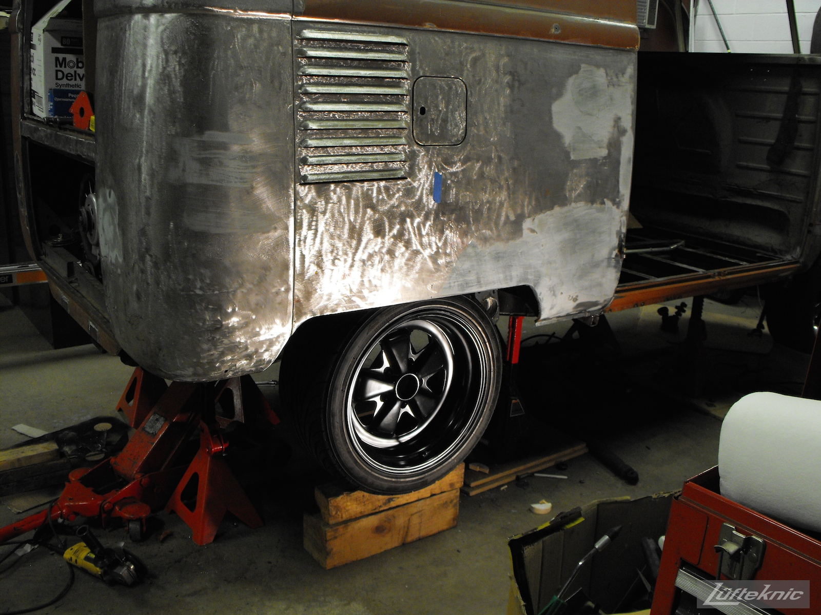 1956 Volkswagen double panel Transporter Porsche Bus wheel test fit.
