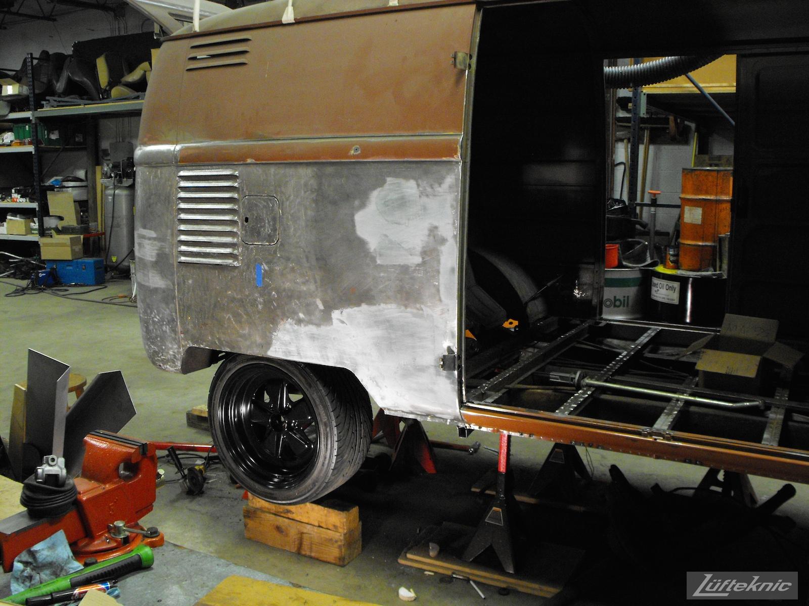 1956 Volkswagen double panel Transporter Porsche Bus wheel test fit.