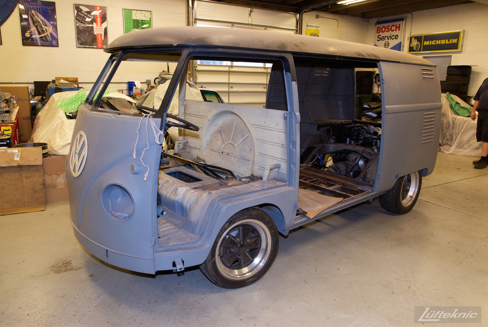 1956 Volkswagen double panel Transporter Porsche Bus with engine installed.