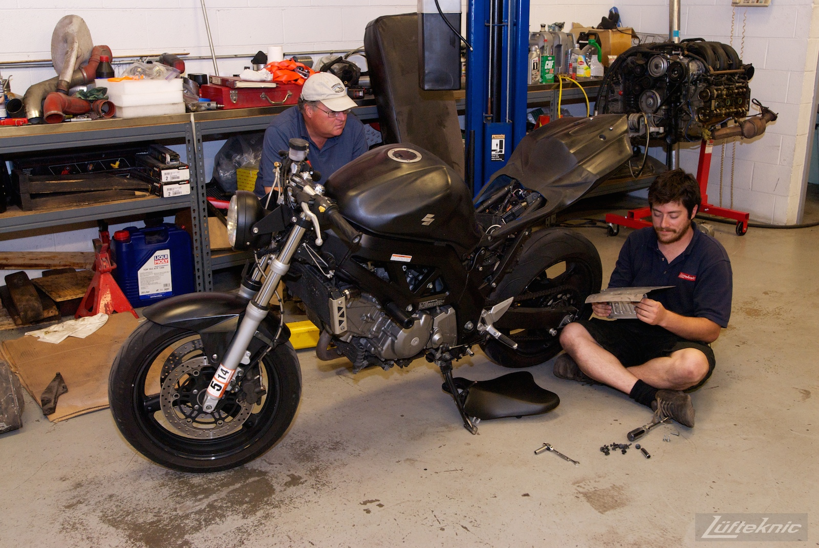 Time out for motorcycle work.