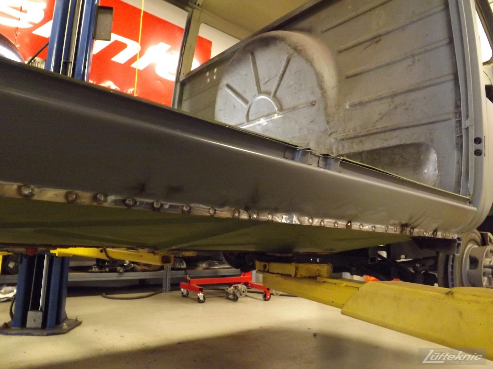 1956 Volkswagen double panel Transporter Lüfteknic Porsche Bus floor installation.