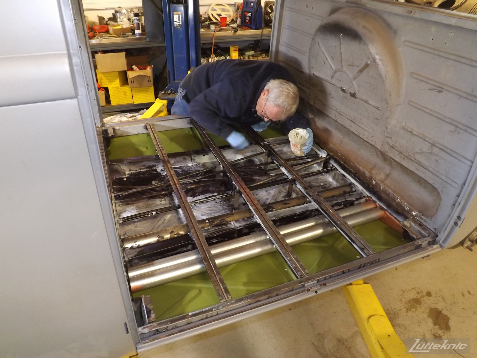 1956 Volkswagen double panel Transporter Lüfteknic Porsche Bus floor installation.