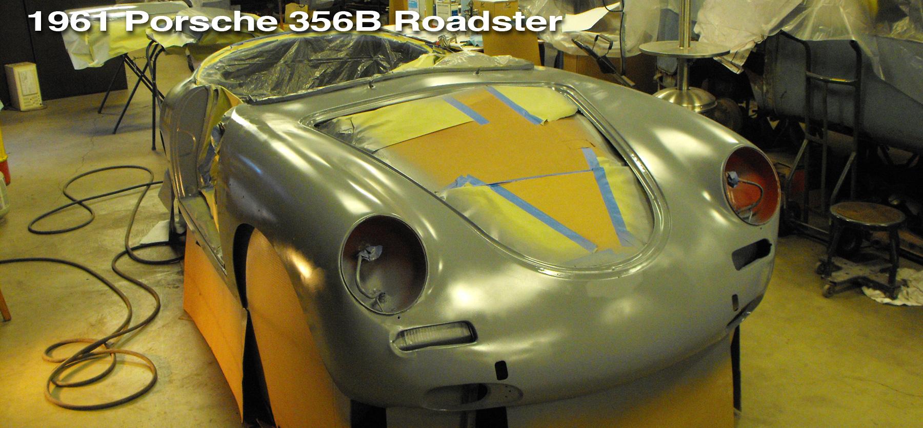 Porsche 356 Roadster restoration header showing the car in primer.