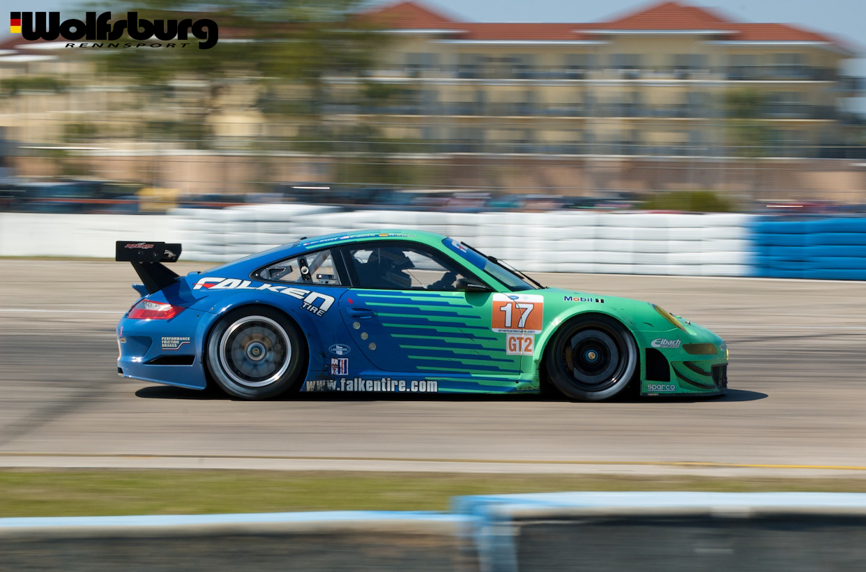 The iconic teal and blue Falken Tire Porsche 911 RSR at Sebring Raceway