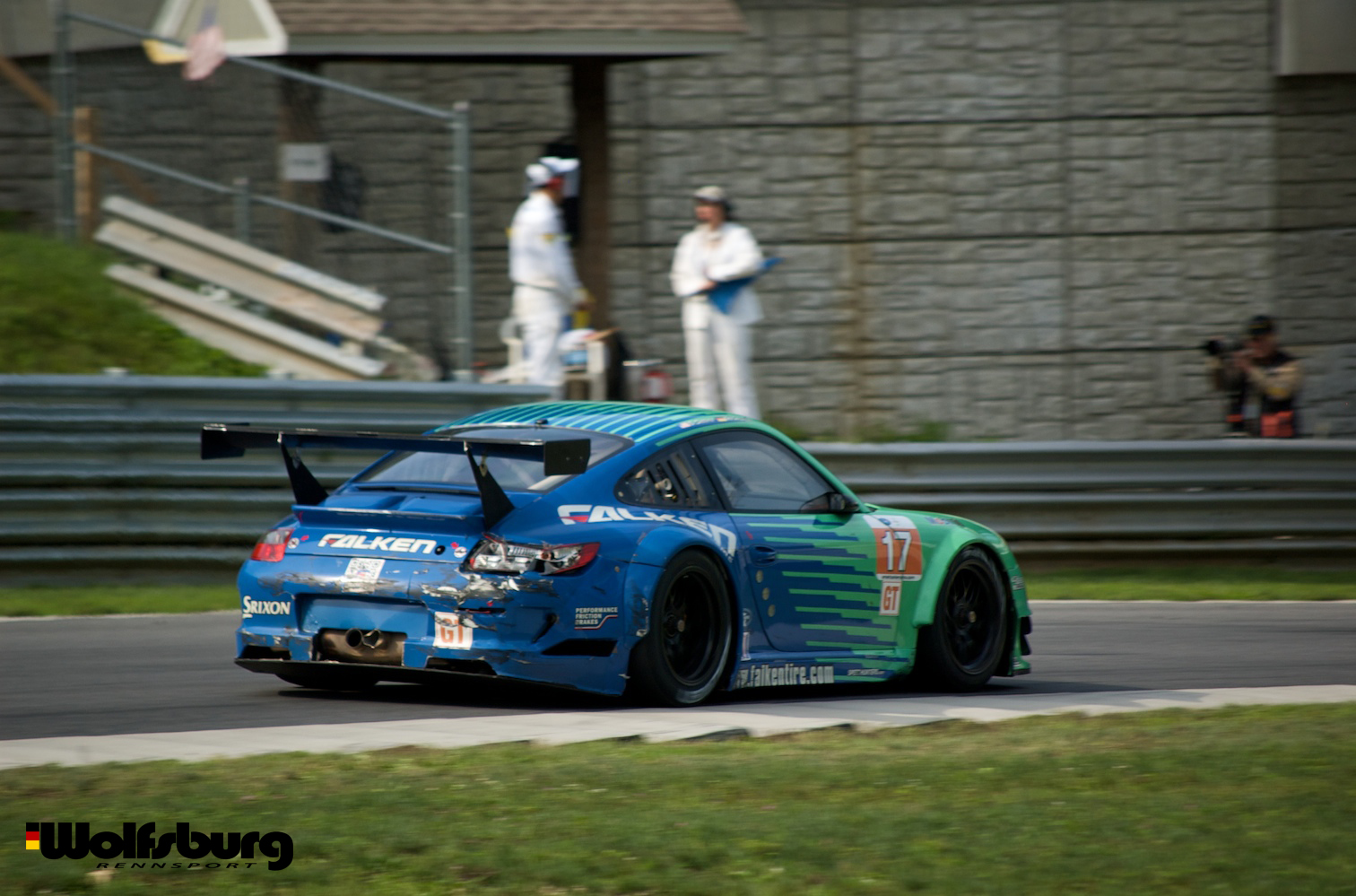 The iconic teal and blue Falken Tire Porsche 911 RSR at Lime Rock Park