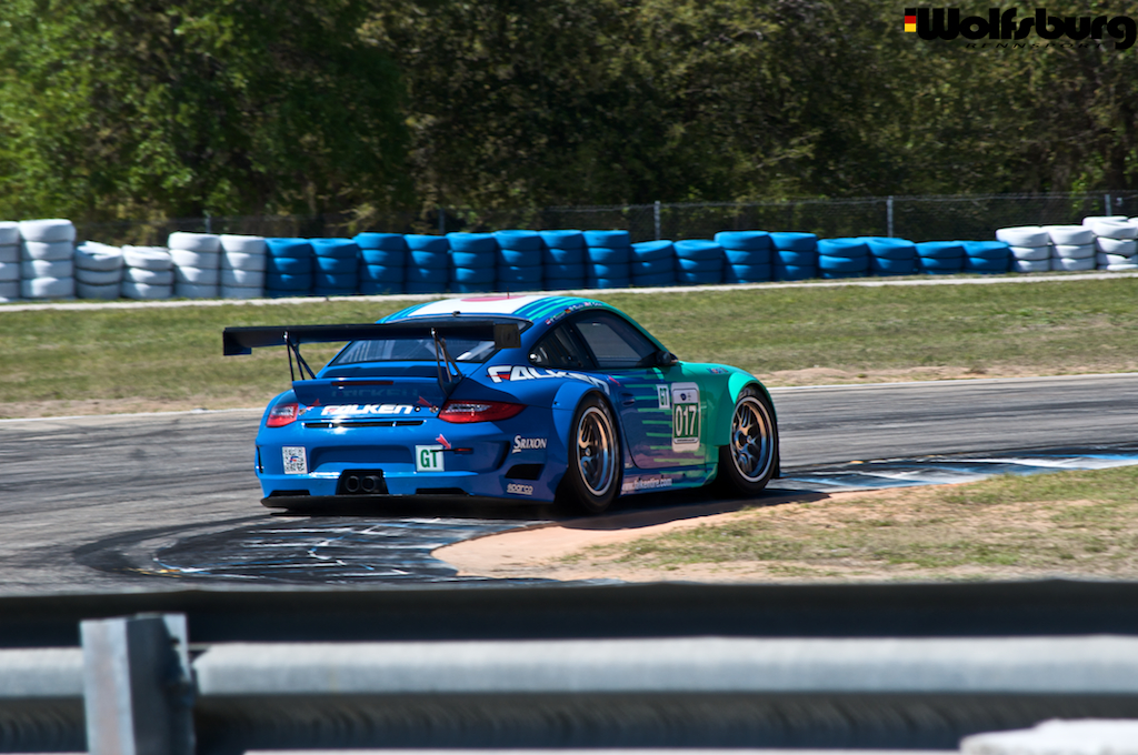 The iconic teal and blue Falken Tire Porsche 911 RSR at Sebring Raceway.