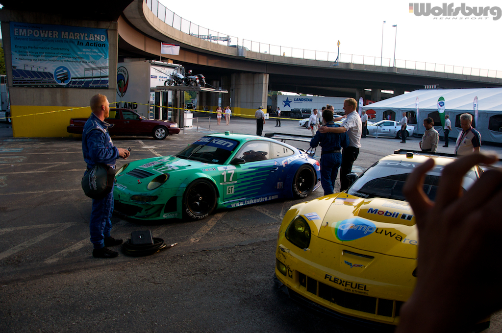 The iconic teal and blue Falken Tire Porsche 911 RSR after winning at Baltimore.
