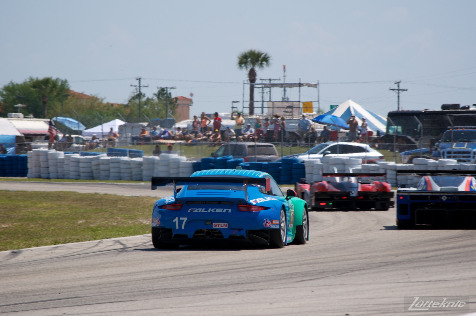 The iconic teal and blue Falken Tire Porsche 911 RSR at Sebring.
