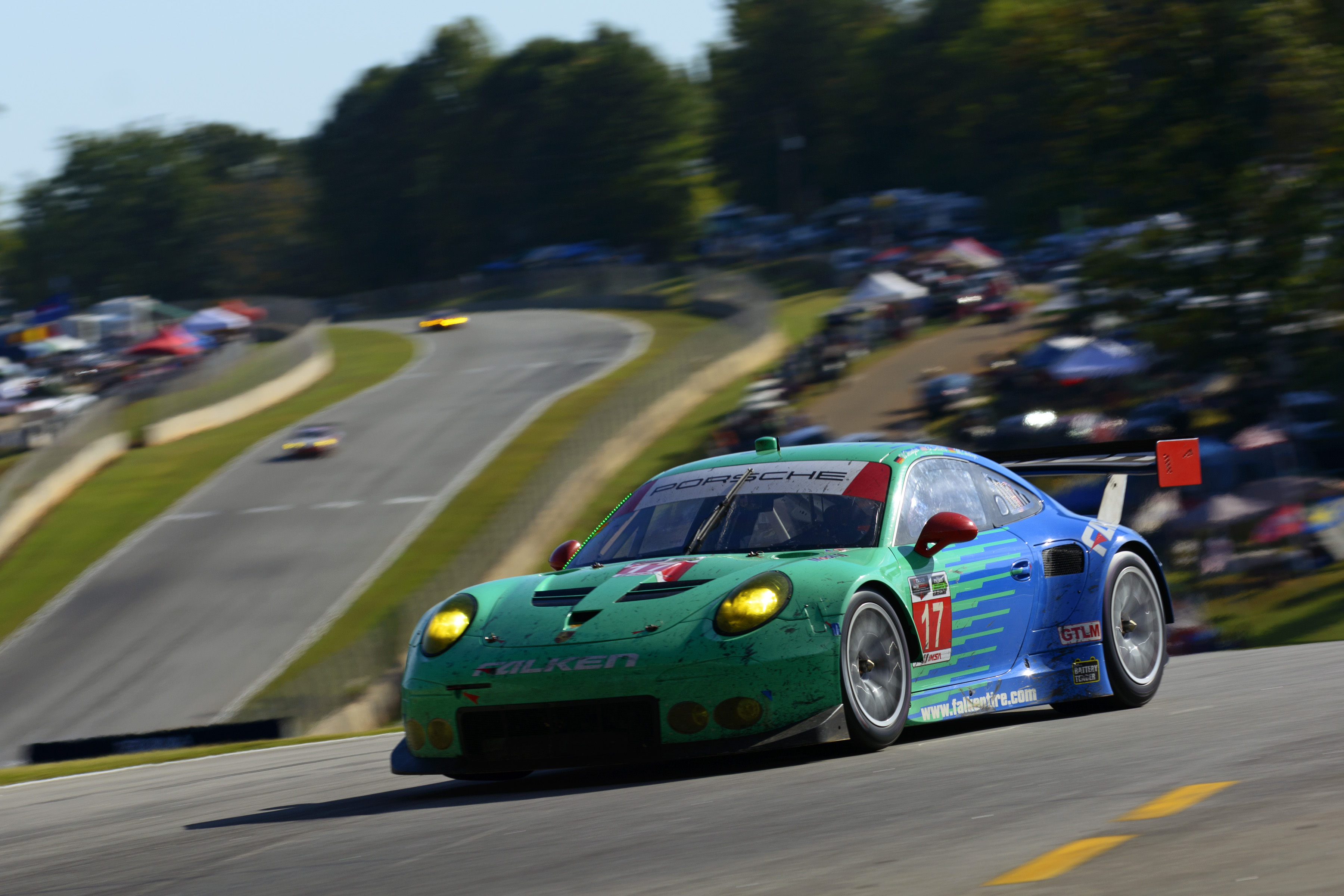 The iconic teal and blue Falken Tire Porsche 911 RSR at Road Atlanta.