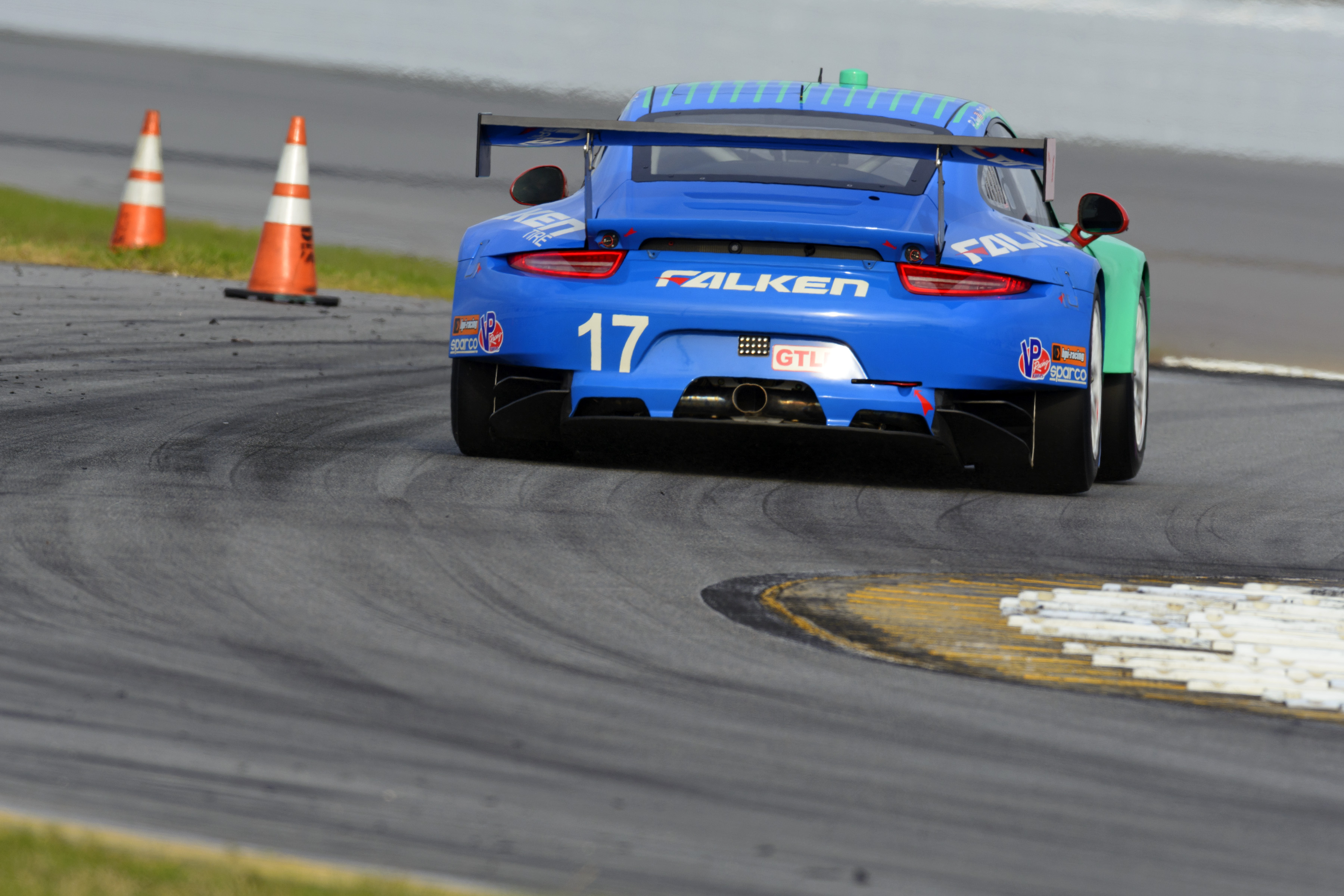 The iconic teal and blue Falken Tire Porsche 911 RSR.
