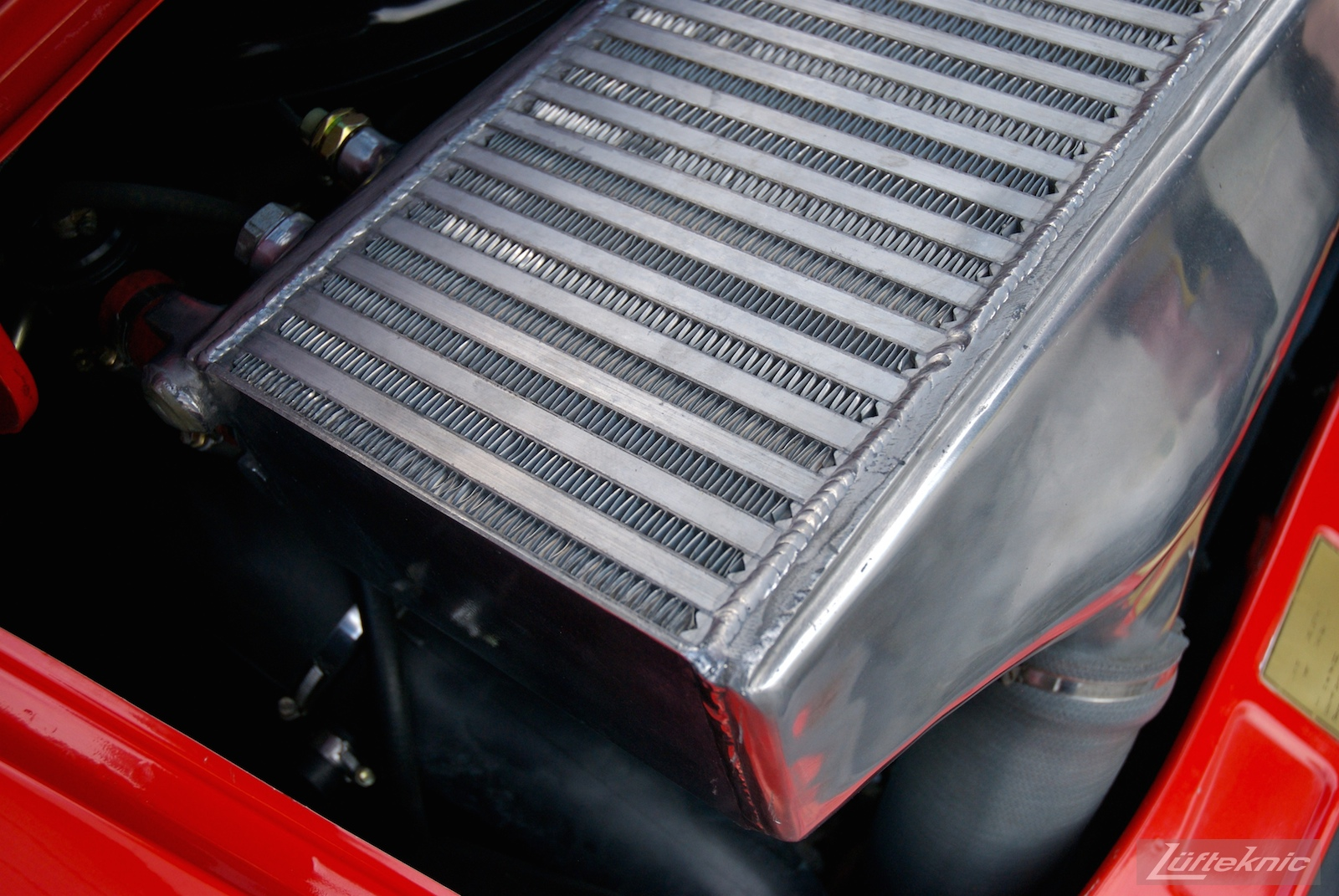 Red Porsche 930 Turbo intercooler.