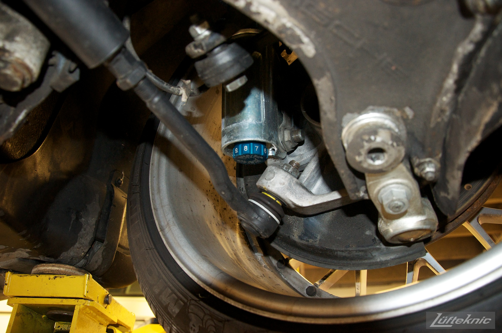 Suspension detail shots with RSR uprights on a 993 Turbo from underneath.