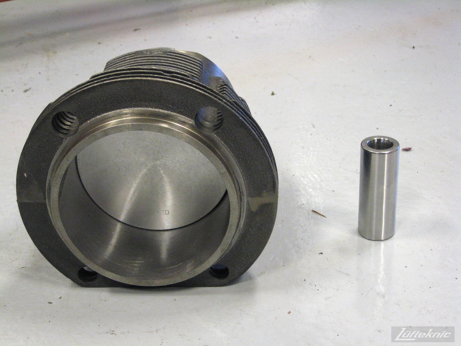 Porsche 914 piston, cylinder and wrist pin prior to install.