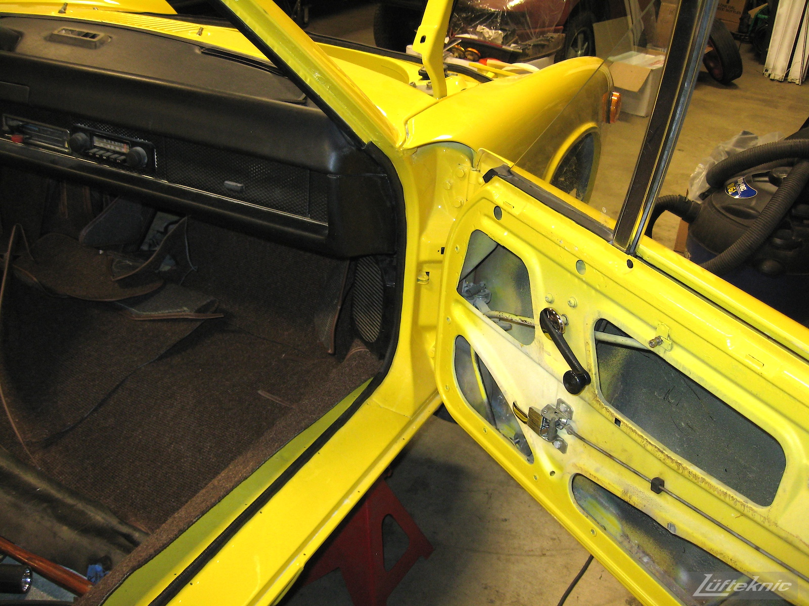 Door trim detail on a Porsche 914 being restored.