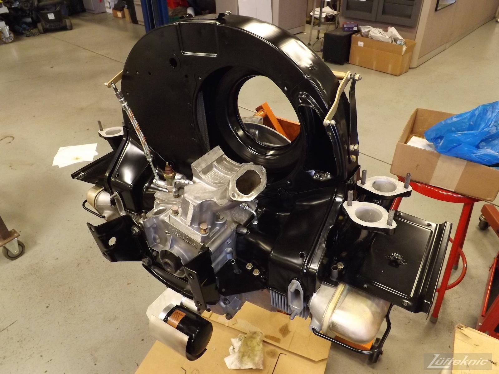 Engine nearly finished on an Irish Green Porsche 912 undergoing restoration at Lufteknic.