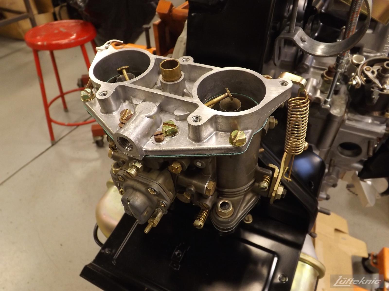 Rebuild carburetors for an Irish Green Porsche 912 undergoing restoration at Lufteknic.