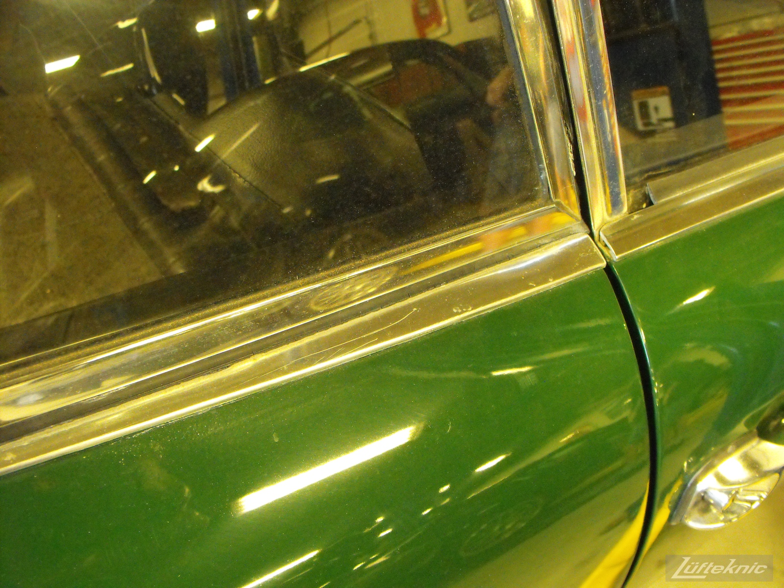 An Irish Green Porsche 912 undergoing restoration at Lufteknic.