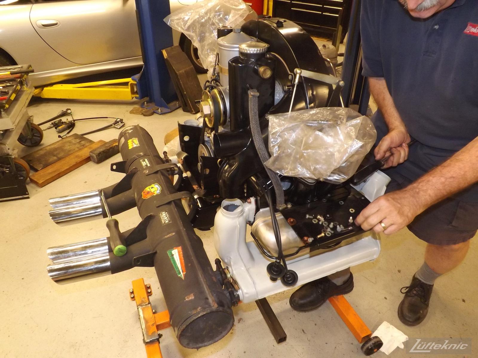Engine ready for install for an Irish Green Porsche 912 undergoing restoration at Lufteknic.
