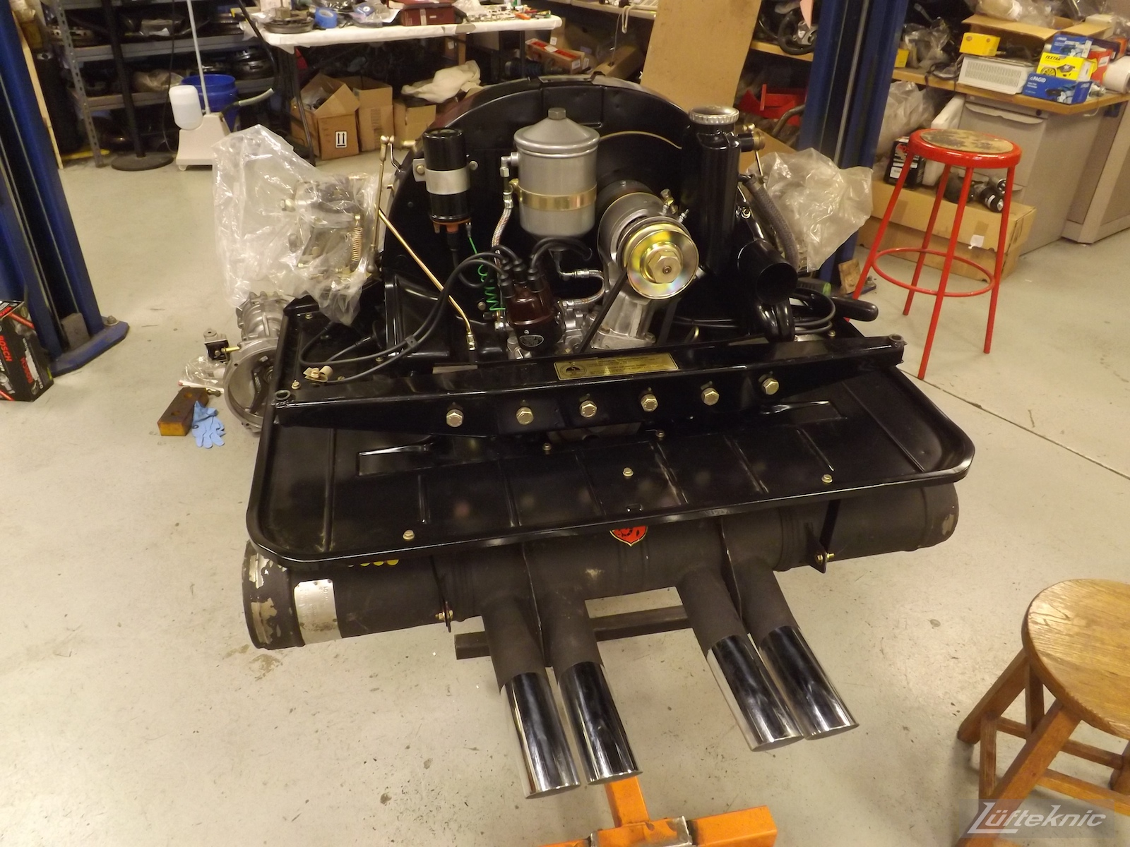 Complete engine with tins ready for install for an Irish Green Porsche 912 undergoing restoration at Lufteknic.
